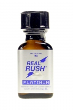 Poppers real rush platinum 24 ml : Arôme real rush platinum, l'original, au nitrite de pentyle, en flacon de 24 ml.